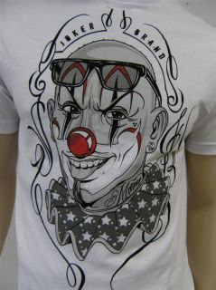 Joker Brand T Shirt Shirt Men weiss Clown Gr M NEU Hip Hop Skater wow