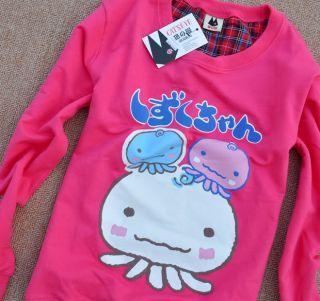 New Ladies Cute Korean Japanese Kawaii Octopus Squid Hoodie Shirt Top