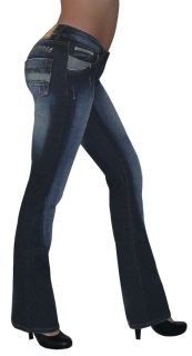 Damen JEANS Boot Straight Cut Hüft Hose 5 Pocket lang light dark blue