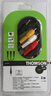Thomson AV 3m 3,5mm Klinke 4 pol 3x Cinch Stecker Kabel Video VHS RCA