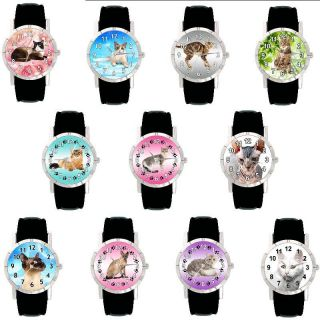 Katzen Motiv Uhren Auswahl Leder für Damen und Mädchen S   T