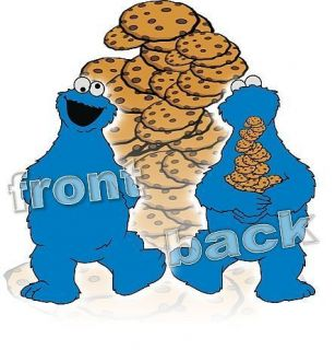 man woman t shirt front & back COOKIE MONSTER Krümelmonster