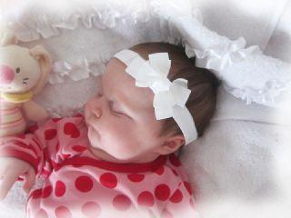 süßes Baby Mädchen Haarband Stirnband Schleife CREME NEU 88