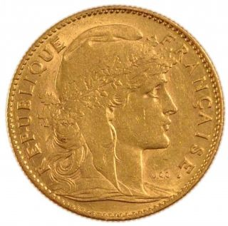 FRANCE 10 FRANCS KM 846 aXF GOLD COIN Rooster 1906