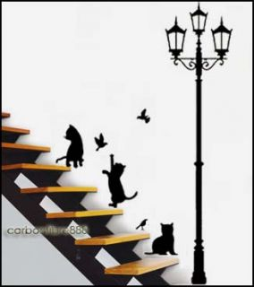 Cat&Lamp PVC Wall Stickers Art Decals Beautiful Home Improvement