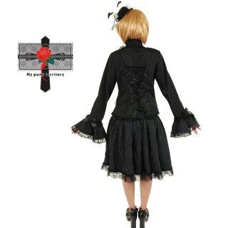 Retro Gothic Lolita Striped Rock Puffy Lace High Skirt