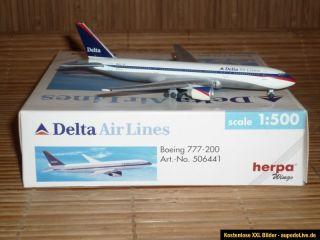 Delta Air Lines * Herpa Wings * 1500 Boeing *777 200 #506441*OVP*TOP