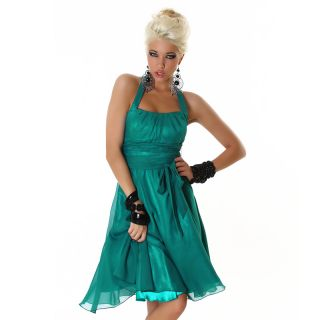 SEXY NECKHOLDER CHIFFON COCKTAILKLEID ABENDKLEID PETROL GR 36 #AK859