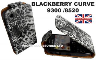 BLACK WHITE LEOPARD ANIMAL PRINT FLIP CASE FOR BLACKBERRY CURVE 8520