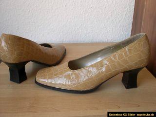 Damen Schuhe Beige Lack Krokodil Gr.38 ARIANE