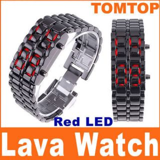Red LED Digital Black Strip Lava Style Iron Sport Watch