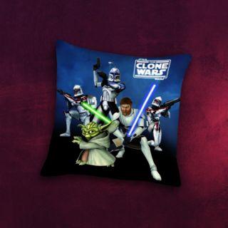 Star Wars Clone Wars Lizenz Kissen mit Jedimeister Yoda, Obi Wan