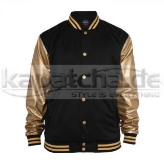 Urban Classics Shiny Metallic College Jacket Black Gold TB356 College