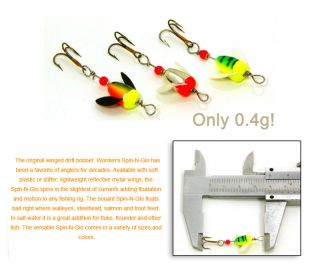 WORDENS SPIN N GLO FLY SPINNER POPPER LURE TROUT SALMON
