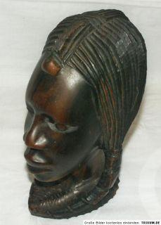 Holz Kopf Afrika Frau Mädchen Schnitzerei Figur Skulptur Ebenholz