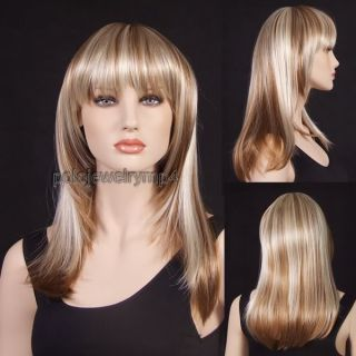 NEW LONG STRAWBERRY BLONDE & BLONDE MIX STRAIGHT WIG