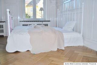 Metallbett weiß, Himmelbett Shabby f. Laura Landhaus Domicil Maison