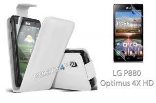 Leder Hülle Case Cover Tasche für LG P880 Optimus 4X HD + Folie