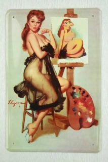 Blechschild Pinup Girl mit eigener Karikatur 20x30 cm Metallschild