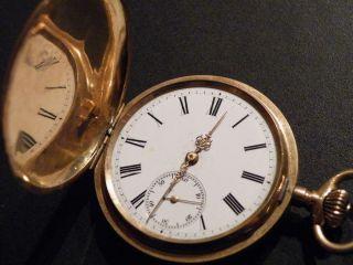 Antike 14.Kt Gold Taschenuhr Savonette GENIUS GLASHÜTTE um 1900
