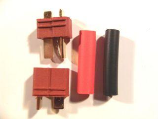 Paar T Stecker vergoldet 60A Dean + Schrumpfschlauch