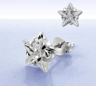 925 Silber Hip Hop Ohrring Stern Ohrstecker Bling 6mm