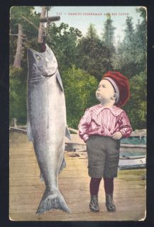 EMBRYO FISHERMAN FISH CATCH LARGE FISH FISHING PORTLAND OREGON VINTAGE