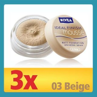 3x Nivea Ideal Finish Mousse Matt Foundation, Make Up  03 Beige