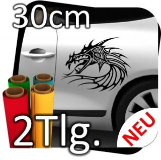 2x L Auto Autoaufkleber Drachen Dragon Drache Tribal Aufkleber Sticker
