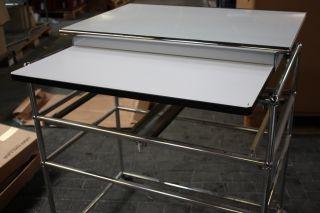 Original USM Haller Schublade Auszug Tastatur inkl. Rohre weiss