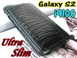 Krokodil Leder tasche Hülle Flip Case Black für Samsung Galaxy S2 II