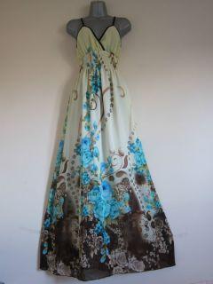 2012 Newest Long Boho Hippie Cream Turquoise Floral Maxi Dress XXXL UK