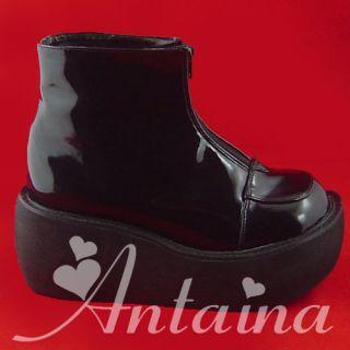 schwarz black punk gothic emo stiefel Shoe Schuhe gotik Stöckel