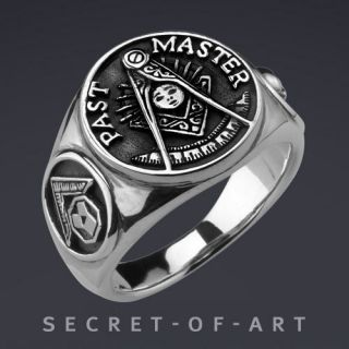 PAST MASTER MASONIC FREIMAURER SQUARE COMPASS 925 RING
