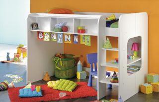 Hochbett Etagenbett Kinderbett Wendy Dekor weiß Kinderzimmer Bett neu