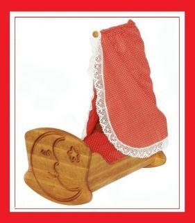 933 3072 Drewart Puppenwiege aus Holz mit Himmel, Puppenbett