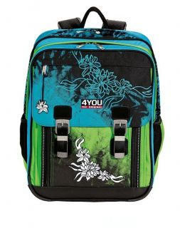 4YOU Schulrucksack Classic Plus NEU Tattoo Flower LIMITED EDITION