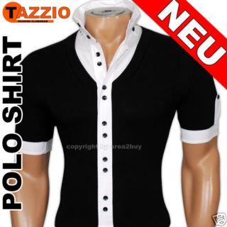 TAZZIO PARTY HEMD T SHIRT POLO SHIRT SCHWARZ   WEIß 942