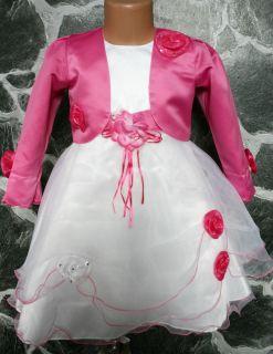 Blumenmädchenkleid FestKleid Rosa Satin Bolero Gr. 140 / 146 NEU
