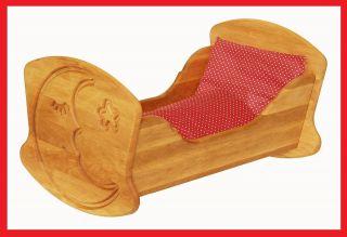 933 3015 Drewart Puppenwiege aus Holz Puppenbett m. Bettzeug