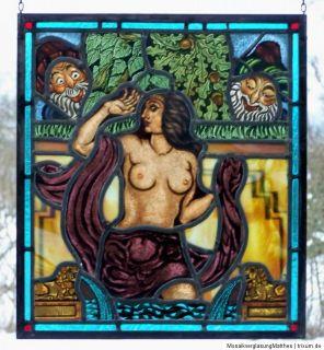 Bleiverglasung musivisches erotisches Jugendstil  Fensterbild Susanna