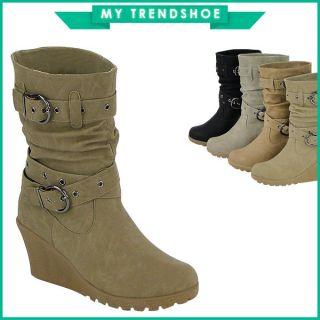 Keilabsatz Stiefel Stiefelette 95049 Damen Schuhe 36 41