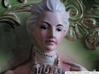 Antikes romantisches Bild junger Mann Bilderrahmen Porzelan shabby