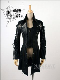 UNISEX gothic punk visual kei JApan man made leather coat jacket