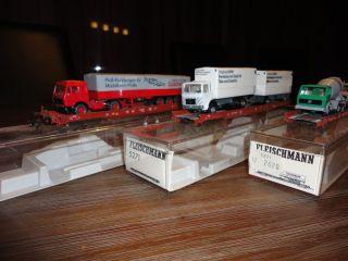 Spur H0 Fleischmann 3 Niederflurwagen rollende Landstrasse der DB mit