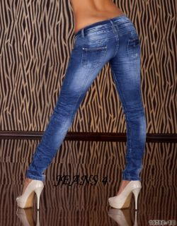 Sexy Straight Leg Skinny Jeans Blue Washed Women 4 14