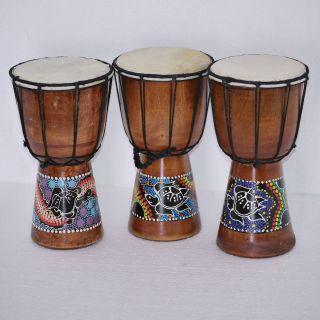 Djembe 25cm, Bongo, Trommel, Holz, Instrument, Dot paint Art, Bali