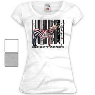 Damen T Shirt Druck Fun Print Motiv Big Bang Theory Zebra Barcode