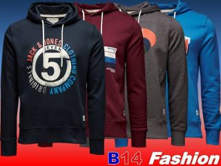 TOP Jack & Jones and Sweat Kapuze Pullover Hoodie Blau Grau Rot S