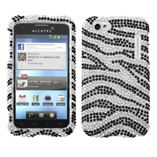 ALCATEL 995(One Touch) Case Cover Bling Rhinestones Black Zebra Skin